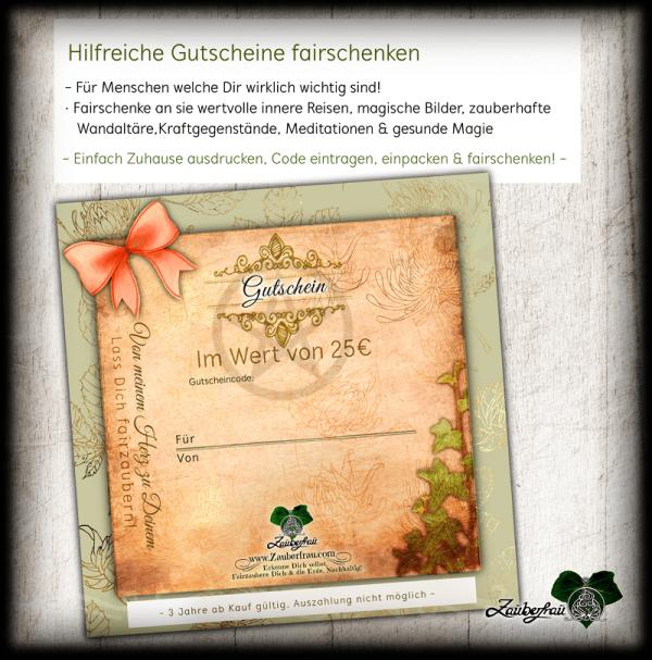Zauberfrau Gutschein mit Schleife, 25€